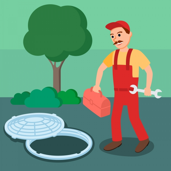 image of man with tool box and wrench approaching an open manhole cover
