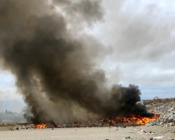 Fire blazing at landfill site