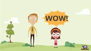"A man and a girl are side by side outdoors. Above the girl's head is a speech bubble that says ""WOW!"""